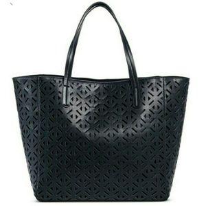 Merona Perforated Cut-Out Large Tote Bag - Black